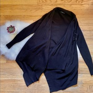 ZARA | HIGH-LOW BLACK KNIT CARDIGAN